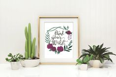 Find your Wild - Wild Woman - Boho - Hand lettered quote - Floral Wreath - Watercolor Quote - Boho Decor