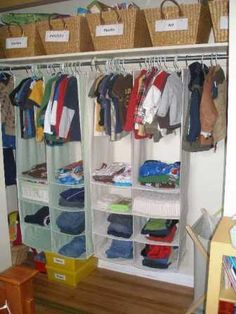 Baskets for the top of the closet and love the hanging racks since kids clothes aren't that long!