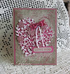 Stampin& Up!, Bloomin& Love, Bloomin Heart thinlits, At First . Valentine Love Cards, Valentine Crafts, Wedding Anniversary Cards, Wedding Cards, Bloomin Love Stampin Up, Stampin Up Karten, Scrapbooking, Stamping Up Cards, Heart Cards