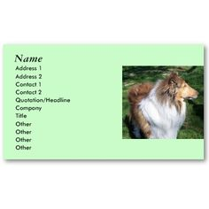 COLLIE Lovers Business cards- *Customize*  Rough Sable collie - business cards- photos both sides.- customize