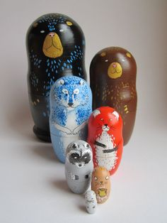 Forest animals nesting dolls by wandalovesyou on Etsy