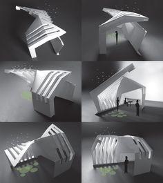Ants of the Prairie › Pest Pavilion Shadow Architecture, Folding Architecture, Concept Models Architecture, Conceptual Architecture, Pavilion Architecture, Architecture Details, Bus Stop Design, Shelter Design, Arch Model