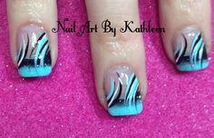 Turquoise and Black Nails #nails #nailart #naildesign #ombre #nailartbykathleen