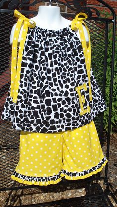 Adding new children's clothing and items!  Personalized giraffe print and yellow polka dot pillowcase top and ruffle capris outfit