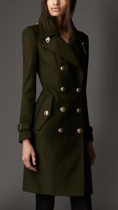 Leather Detail Wool Cashmere Coat | Burberry