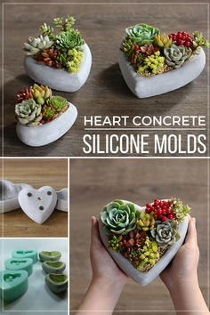 Cute heart reusable silicone molds for cute concrete succulent pots. Suitable for various uses such as: concrete, cement, resin, clay, pottery, plaster. I would make a set of these flower pots for my bedroom and livingroom. #ad #concrete #siliconemold #flowerpot #succulentpot #planter #heartplanter #homedecor #cement #resin #clay #diyhomedecor