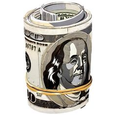 Original Diederick Kraaijeveld Pop Art Hundred Dollar Bill Roll   From a unique collection of antique and modern contemporary art at https://www.1stdibs.com/furniture/wall-decorations/contemporary-art/