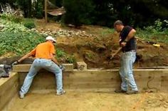 How to Build a Timber Retaining Wall How to construct a wood-timber retaining wall with This Old House landscaping contractor Roger Cook thisoldhouse Wooden Retaining Wall, Building A Retaining Wall, Building A Fence, Cheap Retaining Wall, Sleeper Retaining Wall, This Old House, Landscaping Retaining Walls, Home Landscaping, Landscaping Company