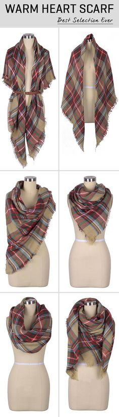 Hold the cold days with $16.99 Only&easy return! This plaid stuff gonna make you chic all the time with its tassel hem! See this full collection at Cupshe.com