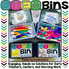 ***PLEASE NOTE THAT THIS PRODUCT CONTAINS PRINTABLE RESOURCES ONLY AND DOES NOT CONTAIN ANY HARD GOODS.***STEM Bins are an ideal hands-on solution for early finishers, morning work, centers, fine motor practice, indoor recess, or positive reinforcement of behavior.