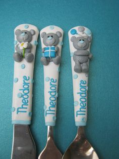 Children's Cutlery,Personalized gift for Kids,Gifts for Boy,Children Flatware Sets,Unique Baby Cute Polymer Clay, Fimo Clay, Polymer Clay Projects, Clay Crafts, Unique Gifts For Girls, Gifts For Boys, Clay Bear, Personalized Gifts For Kids, Biscuit