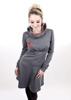Entdecke lässige und festliche Kleider: MEKO Flotty Kleid Damen Grau langarm Spitze made by meko Store via DaWanda.com