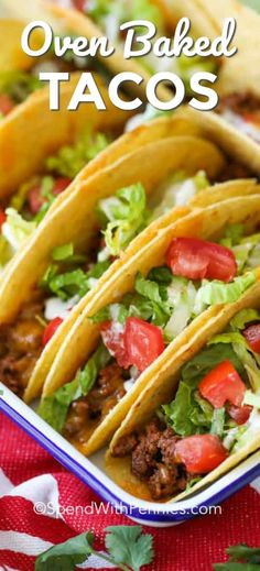 Cheesy Oven Baked Tacos - Spend With Pennies My family loves oven baked ground beef tacos! The baked taco shells help keep everything inside the shell. Giving you more room to pile that guacamole, pico de gallo and jalapeños on top! Taco Bake, Taco Casserole, Lunch Recipes, Meat Recipes, Mexican Food Recipes, Cooking Recipes, Recipes Dinner, Oven Baked Tacos, Baked Chicken Tacos