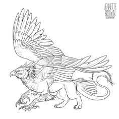 Griffin Lineart Template Chimera, myth, gryphon #Mythical #Fantasy #Creature mythological chimera,chimera