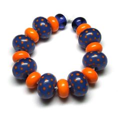 Beads By Laura: Lampwork glass 'Sapphire & Clementine' beads by Laura Sparling