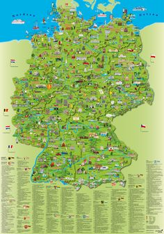Map of Germany by Schönhoff & Krüger Verlag - German Language Poster Shop, Maps For Kids, German Language Learning, Learn German, Fun Facts, City Photo, Tours, Vacation, Places