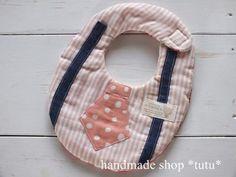ネクタイ風スタイ5 ピンクストライプ Handmade goods for baby&kid`s Handmade shop *tutu* 【生地】 表 Wガーゼ 中 タオル 裏 Wガーゼ