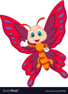 Illustration about Illustration of Cute butterfly cartoon waving. Illustration of beetle, flying, mascot - 33232854 Cartoon Butterfly, Butterfly Clip Art, Butterfly Drawing, Cute Butterfly, Cartoon Cartoon, Cartoon Drawings, Art Papillon, Kids Zone, Tole Painting