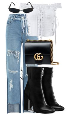 """""""Untitled #950"""" by leximt ❤ liked on Polyvore featuring SJYP, Dolce&Gabbana, Versace and Gucci"""