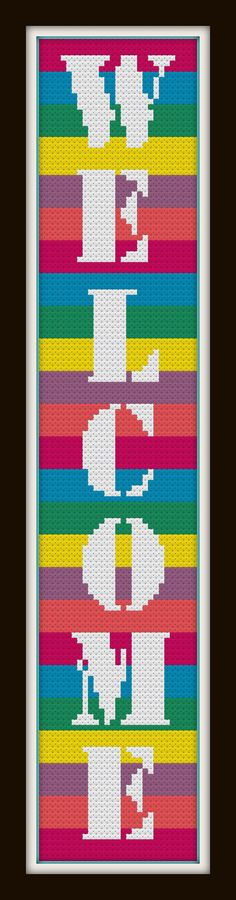 Rainbow Welcome  a Counted Cross Stitch by WooHooCrossStitch, $9.00