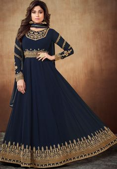 58fa868441 Shamita shetty navy blue georgette embroidered party wear anarkali suit 8063