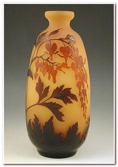 Galle Designer Emile Galle Description Large Art Nouveau cameo vase with Bleeding Hearts floral decoration Country of Manufacture France Date c.1905