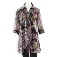Pintuck Border Print Tunic - Women's Clothing – Casual, Comfortable & Colorful Styles – Plus Sizes