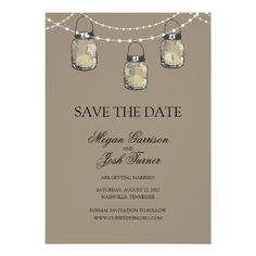 3 Hanging Mason Jars - SAVE THE DATE Card