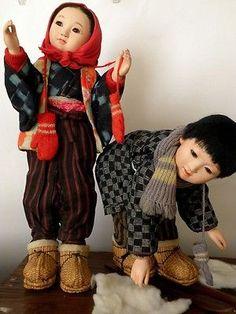 "Vintage Japanese Gofun OOAK Doll Boy Girl Kasuri Indigo Hanten Kimono Monpe 19"""