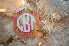 Lilly Pulitzer Monogram Ornament by SassyClassySouthern on Etsy, $8.00    // @Caity Barnes I WANT THIS