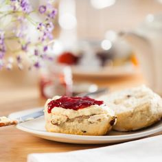 Our very own freshly baked Fruit Scones! Tea Etiquette, Dessert Drinks, Desserts, Fruit Scones, Freshly Baked, High Tea, Afternoon Tea, Tea Time, Tea Party