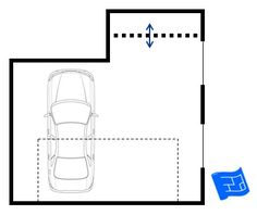 A garage floor plan with a storage alcove to the rear. Click through for more on garage design and home design.
