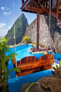 St. Lucia, Caribbean Ladera Resort. Well colour us happy, there's a swing in here for two. xx