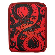 Red and Black Yin Yang Chinese Dragons Sleeve For iPads