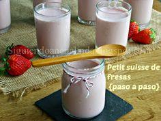 Siguiendo a Nenalinda: Petit Suisse de fresas {paso a paso}..... Glass Of Milk, Drinks, Blog, Cooking Recipes, Deserts, Food, Homemade Yogurt, Strawberry Fruit, Step By Step