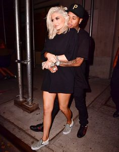 Kylie Jenner Rocks Slip-On Sneakers and Goes Without Pants for Night Out with Tyga from InStyle.com