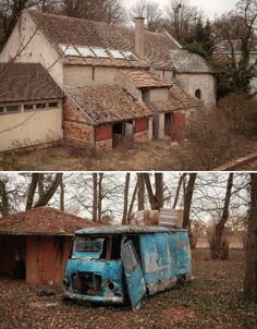 """rural-ruins-orphanage. A photographer calling himself 'boklm' stumbled upon this abandoned orphanage in a small village to the south of Paris. The facility seems to have closed sometime around 1990. He says, """"We saw stables, a barn half collapsed, a tennis court, some offices, small houses, a small church, something like a restaurant or canteen, kitchens, a few other buildings with rooms."""""""