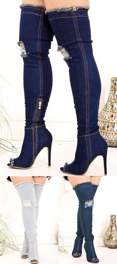 ba0c58223aeb These thigh high boots feature a denim look
