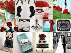 Red Turquoise Black @Ashlyn Gilbert Pentecost  The cake and down the aisle flowers are pretty.