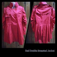 💥Red double breasted jacket💥sold💥 Double breasted jacket  with pockets also have pleats in back. This jacket is very stylish and can worn many different ways. Jackets & Coats
