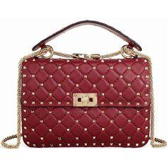 Valentino Rockstud Leather Shoulder Bag - Rubino (5.335 BRL) ❤ liked on Polyvore featuring bags, handbags, shoulder bags, leather shoulder handbags, red handbags, red leather purse, red shoulder bag and quilted leather handbags