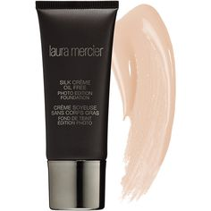 Laura Mercier Silk Crème Oil Free Photo Edition Foundation ($48) ❤ liked on Polyvore featuring beauty products, makeup, face makeup, foundation, long wear foundation, hydrating foundation, laura mercier, paraben free foundation and laura mercier foundation