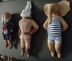 walrus, bunny and elephant storybook sculptures