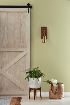 This spring, focus on adding fresh greens to your space, like this natural olive, one of our 2019 Colors of the Year. 🎨: Martinique Dawn at Lowe's // Asian Silk at Ace Hardware and independent retailers. Dining Room Colour Schemes, Dining Room Paint Colors, Bedroom Colour Palette, Kitchen Wall Colors, Living Room Colors, Kitchen Paint, Cabin Paint Colors, Green Paint Colors, Paint Colors For Home