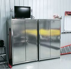 Superior Two Diamond Plate Cabinets 6 Feet Tall 4 Feet Wide 22 Inches Deep