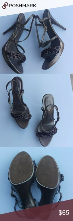 Aldo s gray ruffled sandaled heels Aldo s gray silver ruffled sandals heels  excellent condition some wear cd6a45e3e