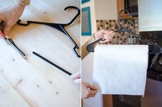 Split a hanger at the bottom and slide a paper towel roll to keep towels handy during a BBQ or while camping.