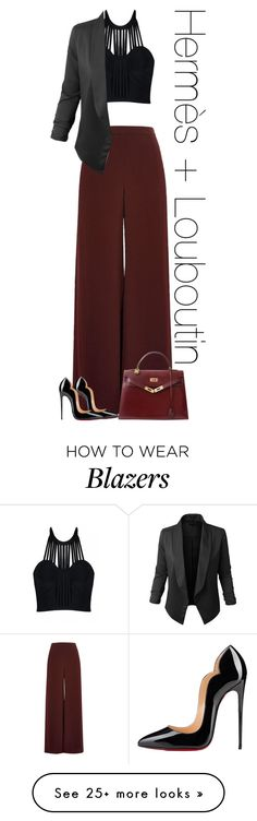 """""""Untitled #475"""" by rania68 on Polyvore featuring Posh Girl, River Island, LE3NO, Christian Louboutin and Hermès"""