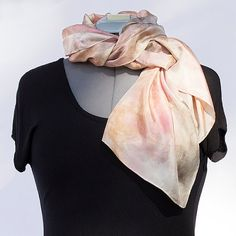 Habotai Silk Scarf hand-dyed with Plants, Flowers, Red Earth and Beauty Heart Radish, no chemical mordants or dyes used
