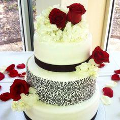 Red, white & black wedding cake.